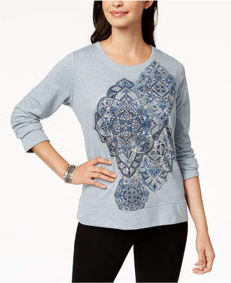 Style&Co. Style & Co Long-Sleeve Metallic-Graphic Sweatshirt, Created for Macy's