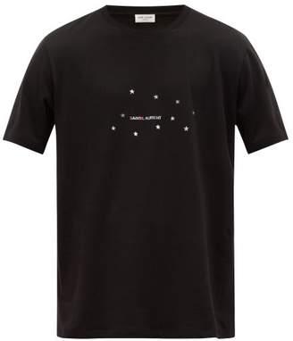Saint Laurent Logo And Star Print Cotton T Shirt - Mens - Black Silver