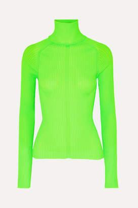 Acne Studios Komina Neon Ribbed-knit Turtleneck Sweater - Lime green
