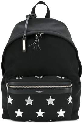 Saint Laurent City star patch backpack