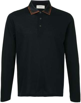 Cerruti satin collar polo shirt