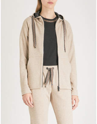 Brunello Cucinelli Bead-trim cashmere and cotton-blend hoody