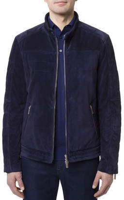Stefano Ricci Men's Zip-Front Quilted Suede Moto Jacket w/ Woven Lining