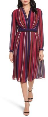 Women's Anne Klein Stripe Fit & Flare Dress $139 thestylecure.com