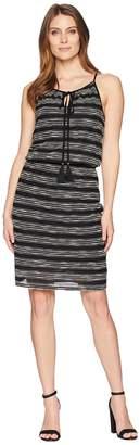 Vince Camuto Zigzag Stripe Cinch Waist Halter Dress Women's Dress