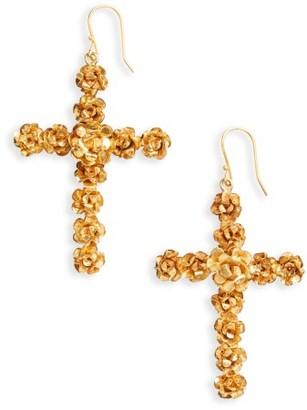 Women's Virgins Saints & Angels Rose Cross Drop Earrings $145 thestylecure.com