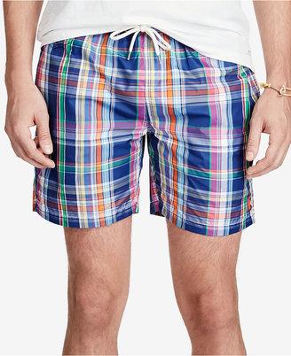 Polo Ralph Lauren Men's Plaid Swim Trunks $75 thestylecure.com