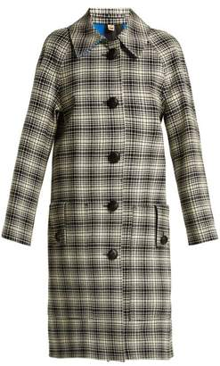 Burberry Walkden Houndstooth A Line Wool Coat - Womens - Black White
