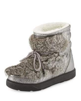 Moncler Fanny Lace-Up Ankle Boot, Gray $755 thestylecure.com