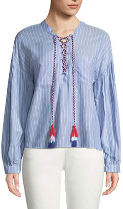 ENGLISH FACTORY Shirred-Sleeve Striped Cotton Blouse w/ Lace-Up Tassels