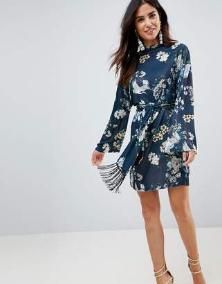 Asos Design Kimono Sleeve Bird Print Mini Dress with Self Fringe Belt