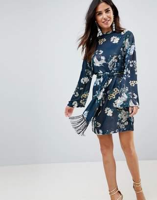 Asos DESIGN Kimono Sleeve Bird Print Mini Dress with Self Fringe Belt