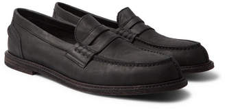Hender Scheme Split-Toe Distressed Leather Penny Loafers
