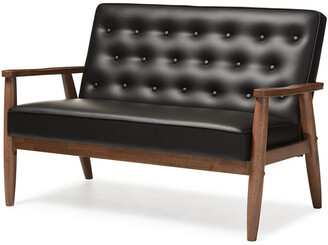 Baxton Studio Design Studios Sorrento 2-Seat Loveseat- Black