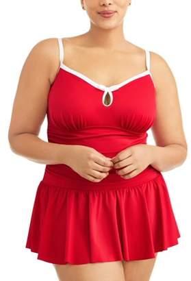 Simply Slim Women's Plus-Size Slimming Shirred Cami Bow One-Piece Swimdress