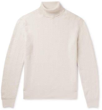 Ermenegildo Zegna Slim-fit Cable-knit Cashmere Rollneck Sweater - Cream