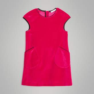 Burberry Piping Detail Velvet Shift Dress , Size: 3Y, Pink