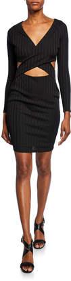 Avalon Cross-Front Cutout Long-Sleeve Body-Con Dress