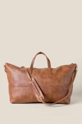 francesca's Tabitha Vegan Leather Weekender - Cognac