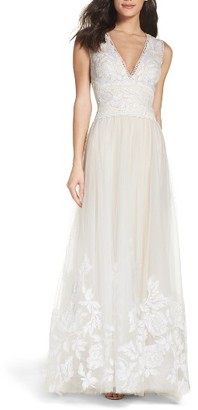Women's Tadashi Shoji Tulle Lace A-Line Gown $998 thestylecure.com