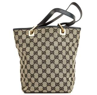 Gucci Black Leather GG Monogram Canvas Guccisima Tote Bag (3989016)