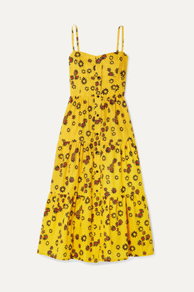 Solid & Striped Tiered Floral-print Cotton-poplin Midi Dress - Saffron