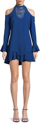 Elie Saab Cold-Shoulder Lace Neckline Silk-Blend Dress