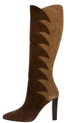 Saint Laurent Suede Pointed-Toe Boots Brown Suede Pointed-Toe Boots