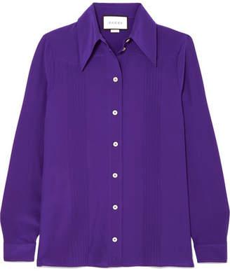 Gucci Pintucked Silk Crepe De Chine Shirt - Purple
