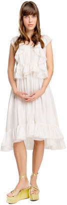 Max Studio silk mesh chiffon ruffled dress