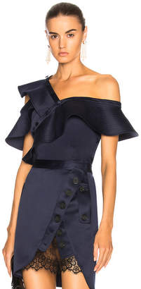 Self-Portrait Self Portrait Sleeveless Satin Frill Shirt in Midnight Blue | FWRD
