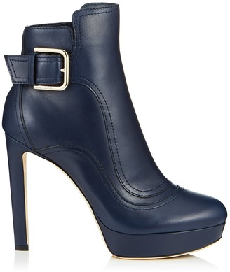 Jimmy Choo BRITNEY 115 Navy Smooth Leather Platform Booties