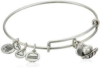 "Alex and Ani Bangle Bar ""Oyster and Pearl"" Rafaelian Silver-Tone Expandable Bracelet"