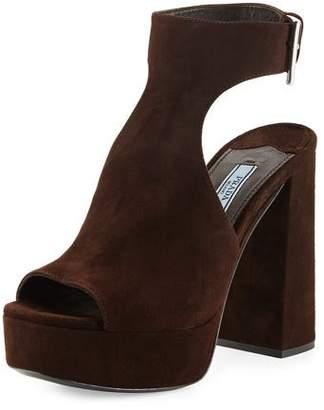 Prada Suede Ankle-Wrap Sandal, Brown (Moro)