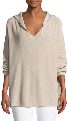 Lafayette 148 New York Shimmer Ribbed Hoodie Sweater