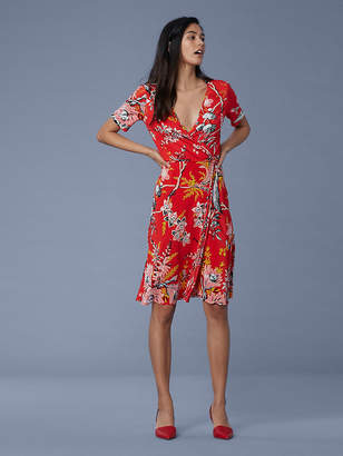 Diane von Furstenberg Short Sleeve Flared Silk Jersey Wrap Dress