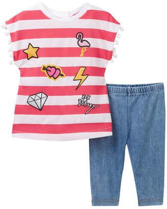 Betsey Johnson Striped Chiffon Back Top & Knit Denim Capri Leggings Set (Baby Girls)