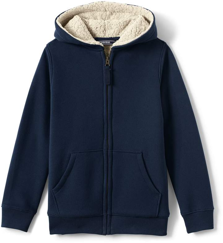 Lands'end Boys Sherpa Lined Hoodie