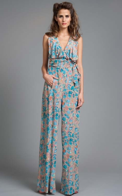 Tracy Reese Pink Tulips Palazzo Jumpsuit