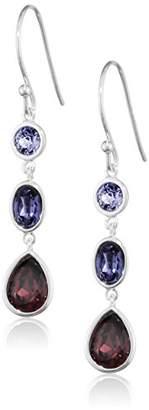 Swarovski Elements Silver Women's 925 Sterling Silver Amethyst Sapphire and Tanzanite Drop Earrings