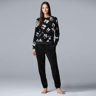 Vera Wang Women's Simply Vera Velour Top & Jogger Pajama Set