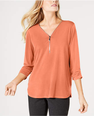 JM Collection Petite Zipper-Trim Top