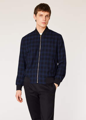 Paul Smith Men's Dark Navy Check Wool Bomber Jacket