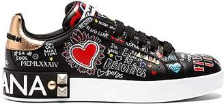 Dolce & Gabbana Black Printed Calfskin Portofino Sneakers