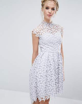 Chi Chi London High Neck Dress in Cutwork Lace $106 thestylecure.com