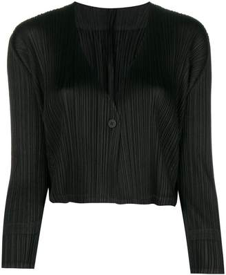 Pleats Please Issey Miyake pleated cropped jacket