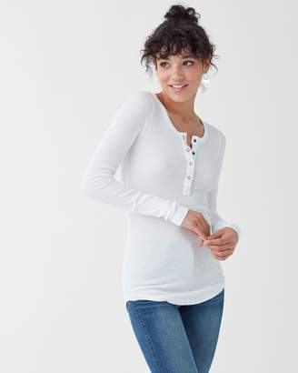 Splendid Thermal Henley Long Sleeve Top