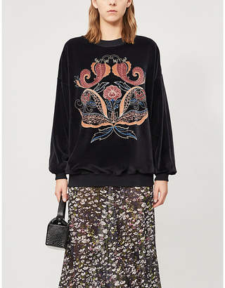 See by Chloe Paisley-embroidered velvet cotton-blend jumper