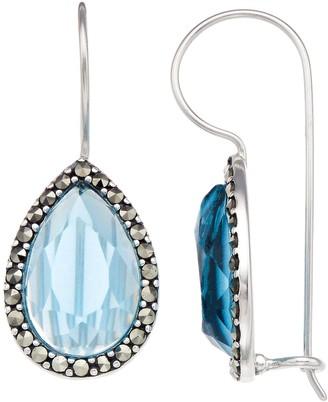 Tori Hill Marcasite & Blue Glass Teardrop Earrings