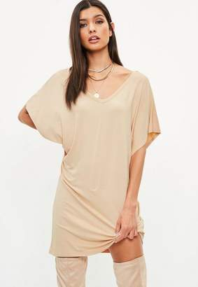 Missguided Nude Short Sleeve Tshirt Dress